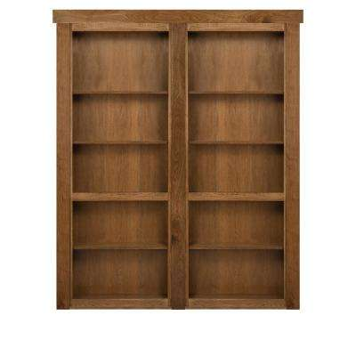 72 in. x 80 in. Flush Mount Assembled Hickory Medium Stained In-Swing Solid Core Interior French Bookcase Door