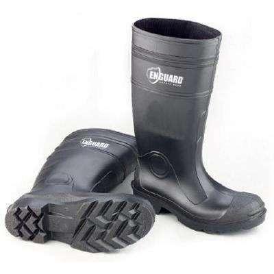 Men Black PVC Plain Toe Boots