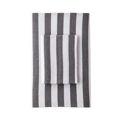 Awning Stripe Space-Dyed Jersey Knit Fitted Sheet