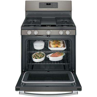 Adora 5.0 cu. ft. Gas Range with Self-Cleaning Convection Oven in Slate, Fingerprint Resistant