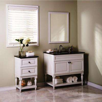 Emberson 19 in. Bath Vanity Linen Cabinet in White with Granite Vanity Top in Butterfly Blue