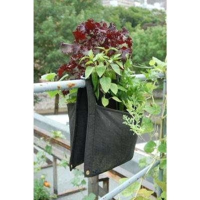 Wall Flowers Saddle Planter Black Fabric Vertical Planter
