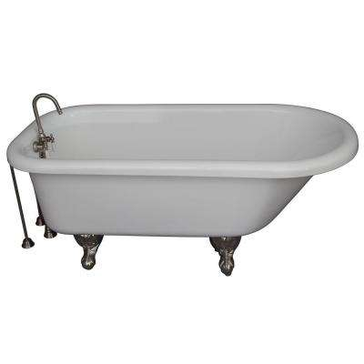 5 ft. Acrylic Ball and Claw Feet Roll Top Tub in White with Brushed Nickel Accessories