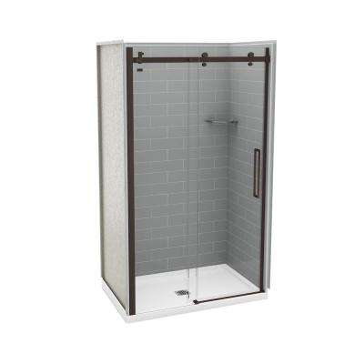 32 in. x 48 in. x 83.5 in. Direct-to-Stud Alcove Shower Kit in Metro Ash Grey with Dark Bronze Door