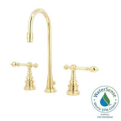 IV Georges Brass 8 in. Widespread 2-Handle High-Arc Bathroom Faucet in Vibrant Polished Brass