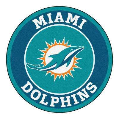 NFL Miami Dolphins Turquoise 2 ft. 3 in. x 2 ft. 3 in. Round Accent Rug