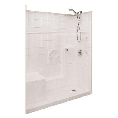 Prestige 32 in. x 60 in. x 77 in. 3-piece Low Threshold Shower System in White with Right Drain