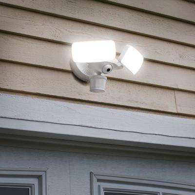 White Smart Motion Activated Outdoor Integrated LED Camera Floodlight