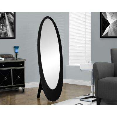 59 in. x 19 in. Contemporary Oval Framed Mirror in Black