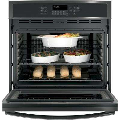 30 in. 5.0 cu. ft. Single Electric Wall Oven Self-Cleaning with Steam in Black Stainless Steel, Fingerprint Resistant