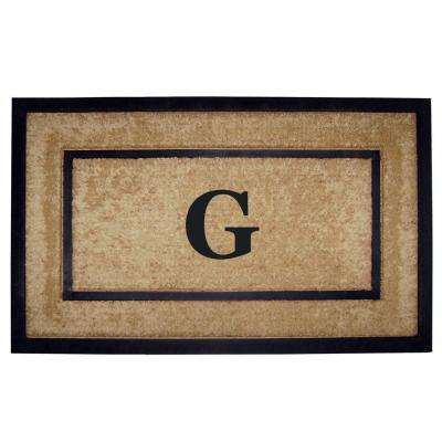 DirtBuster Single Picture Frame Black 22 in. x 36 in. Coir with Rubber Border Monogrammed G Door Mat