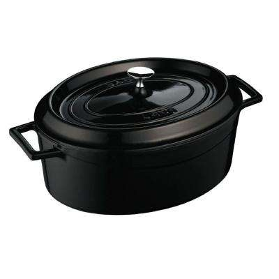 Signature 5 Qt. Enameled Cast Iron Oval Dutch Oven in Obsidian Black