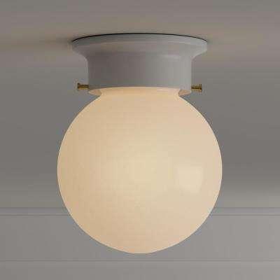 1-Light White Globe Flush Mount