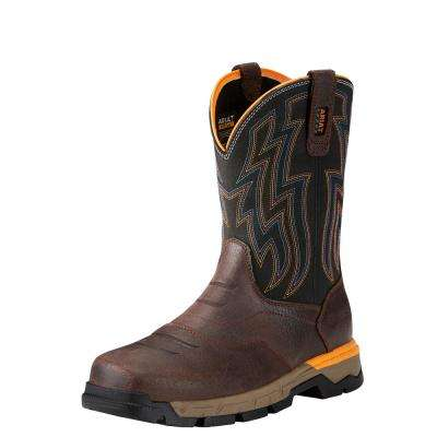 Men's Chocolate Brown Rebar Flex Western Composite Toe Pull On Work Boot