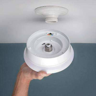 Spin Light 7 in. White Selectable LED Flush Mount Ceiling Light Closet Laundry Basement 810 Lumens 3000K 4000K 5000K