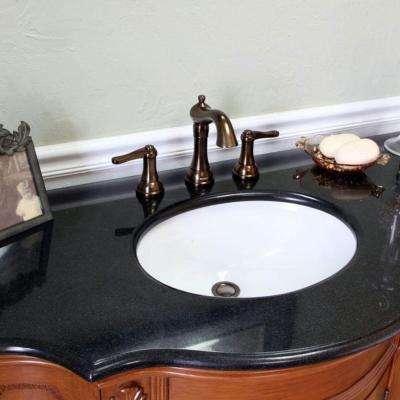 Goleta 48 in. W x 22 in. D x 36 in. H Single Vanity in Light Walnut with Granite Vanity Top in Black with White Basin