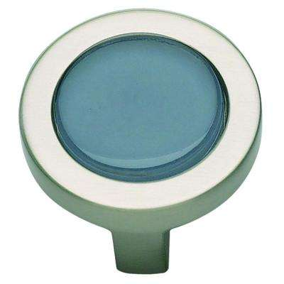 Spa Collection 1-1/4 in. Blue Glass With Brushed Nickel Round Cabinet Knob
