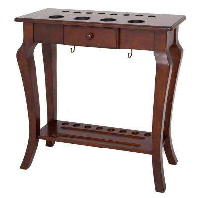 Deluxe Floor Cue Rack with Walnut Finish