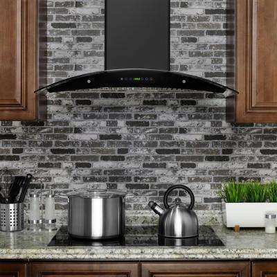 36 in. Convertible Wall Mount Range Hood in Black with Tempered Glass and Remote Control