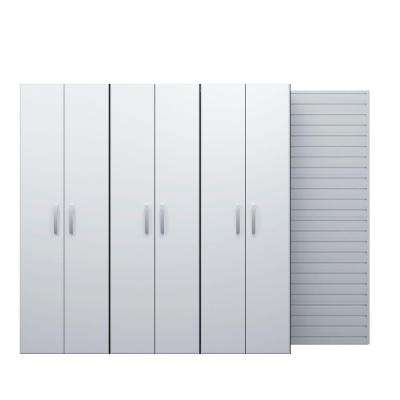 72 in. H x 96 in. W x 17 in. D Wall Mounted Garage Cabinet Set in White (3 Piece)
