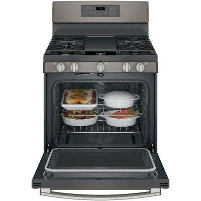 5.0 cu. ft. Gas Range with Self-Cleaning Convection Oven in Slate, Fingerprint Resistant