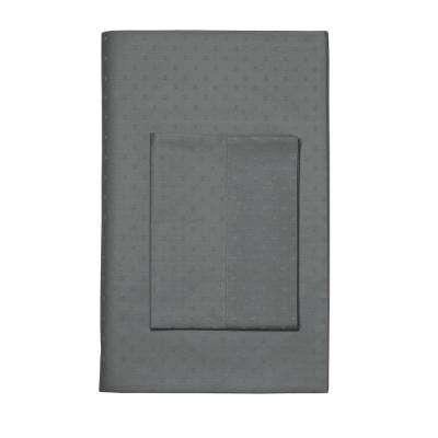 Legends Luxury Dot 500-Thread Count Cotton Sateen Flat Sheet