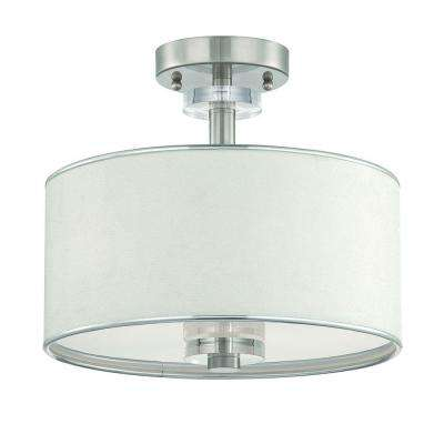 Savvy Collection 3-Light Satin Nickel and White Semi-Flush Mount