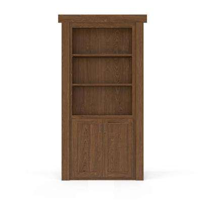 36 in. x 80 in. Flush Mount Assembled Laundry Door Maple Medium Stained Left-Hand Inswing