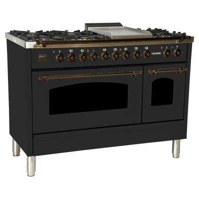 48 in. 5.0 cu. ft. Double Oven Dual Fuel Italian Range True Convection,7Burners,Griddle,LPGas,Bronze Trim/Matte Graphite