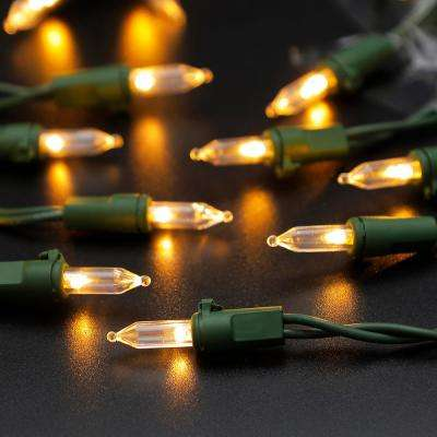 34.3 ft. 100-Light Warm White LED String Lights with Green Wire (3-Pack)