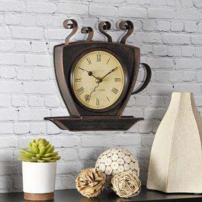 9 in. x 9 in. Bronze Square Coffee Cup Wall Clock