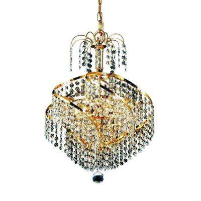 3-Light Gold Chandelier with Clear Crystal