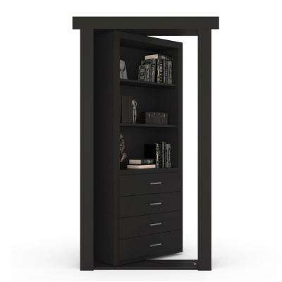 36 in. x 80 in. Flush Mount Assembled Dresser Door Paint Grade Black Left-Hand Outswing