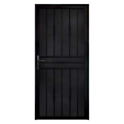 Cottage Rose Recessed Mount Steel Security Door with Expanded Metal Screen and Bronze Hardware