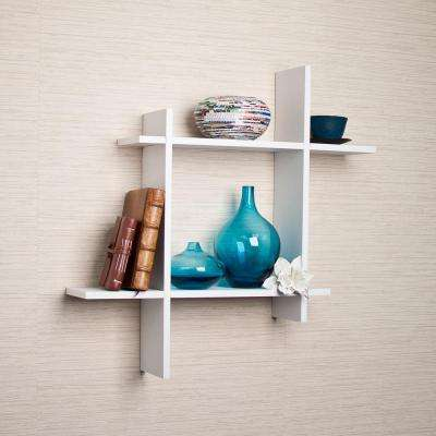 Contempo 24 in. W x 24 in. H White Laminate MDF Asymmetric Square Floating Wall Shelf