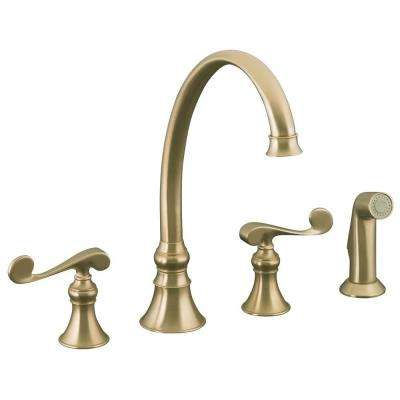 Revival 2-Handle Standard Kitchen Faucet with Side Sprayer in Vibrant Brushed Bronze