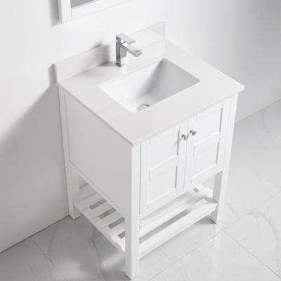 23 in. H x 34 in. W x 21 in. D Bath Vanity in White with Porelain Top Basin and Wall Mounted Mirror