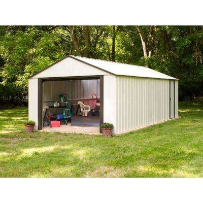 Murryhill 12 ft. W x 10 ft. D White Vinyl-Coated Galvanized Metal Garage Type Storage Shed