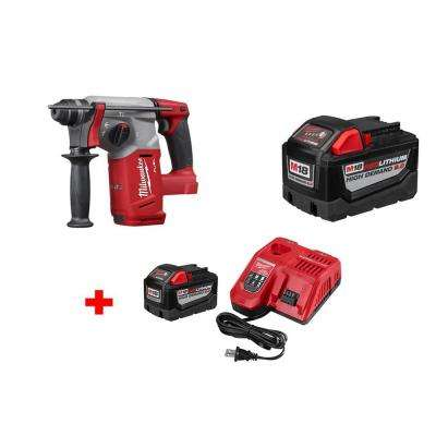 M18 FUEL 18-Volt Lithium-Ion Brushless 1 in. SDS-Plus Rotary Hammer and 9.0Ah Bat with 9.0Ah Starter Kit