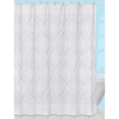 Belle' 70 in. x 72 in. Chenille Cotton Shower Curtain in White