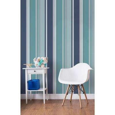56.4 sq. ft. Energy Blue Striped Wallpaper