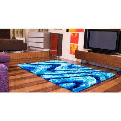 """""""3D Shaggy"""" Hand Tufted Shag Area Rug in Ocean Current (5-ft x 7-ft)"""