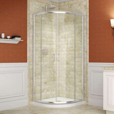 Prime 38 in. x 38 in. x 74.75 in. Framed Sliding Shower Enclosure in Chrome with Quarter Round Shower Base