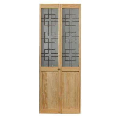 32 in. x 80 in. Geometric Glass Over Raised Panel Pine Interior Bi-fold Door