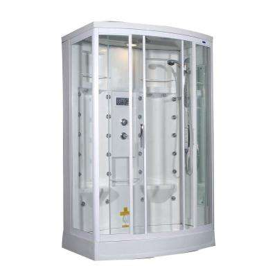 ZA213 56 in. x 37 in. x 85 in. Steam Shower Right Hand Enclosure Kit in White with 28 Body Jets