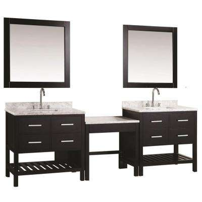 Two London 36 in. W x 22 in. D Vanity in Espresso with Marble Vanity Top in Carrara White, Mirror and Makeup Table