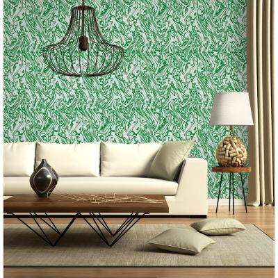 The Blush Label for Mitchell Black Collection Marble in Emerald Removable and Repositionable Wallpaper