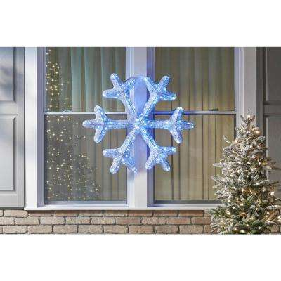 36 in. White Tinsel Snowflake with Twinkling Lights
