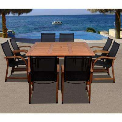 Bahamas Square 9-Piece Eucalyptus Patio Dining Set