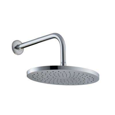 1-Spray 10 in. Oval Fixed Shower Head with 12 in. Stainless Steel Arm and Flange in Polished Chrome